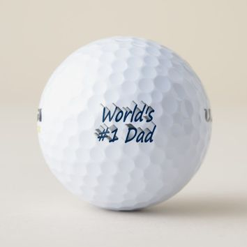 World's #1 Dad 3D Golf Balls, Ocean Blue Golf Balls