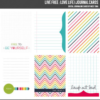 Live Free : Love Life 1 Digital Journal Cards - 3x4 project life inspired scrapbooking journaling note cards  - instant download - CU OK