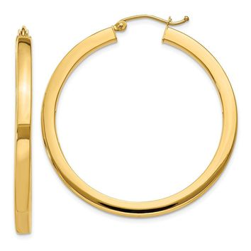 3mm, 14k Yellow Gold Square Tube Round Hoop Earrings, 40mm (1 1/2 In)