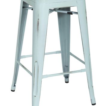 Metropolis Metal Backless Counter Stool, Distressed Blue (Set of 4)