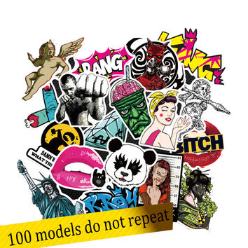 50 100pcs Stickers pegatinas Drone laptop skateboard guitar suitcase Waterproof DIY Accessory Skull Rock punk Free Shipping