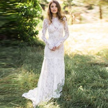Wedding Dresses Boho 2019 Long Sleeves Exquisite Lace Backless Chic Wedding Dress Robe De Mariage  Bridal Gowns