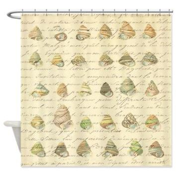 Vintage Seashell French Script Shower Curtain> Coastal, Vintage and Urban Chic Shower Curtains> Rebecca Korpita Coastal Design