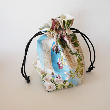Drawstring Makeup Bag - White Cranes & Flowers - Japanese Fabric - Asian Fabric - Makeup Pouch - Cosmetic Bag - Adorable Little Jewelry Bag
