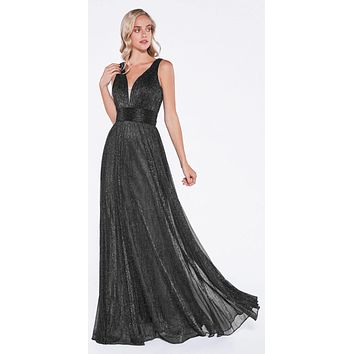 Black Ruched V-Neck and Back Pleated Long Formal Dress