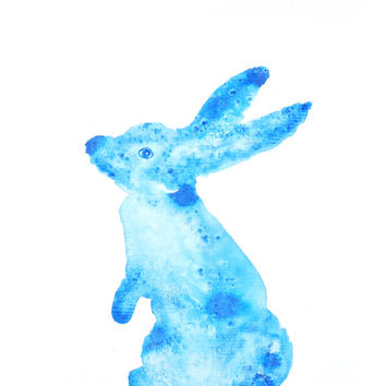 Watercolor Hare Painting – Original Watercolor Art, Unmounted, Nursery, Wall Decor,  Home Decor, Animal Paintings - by MABartStudio