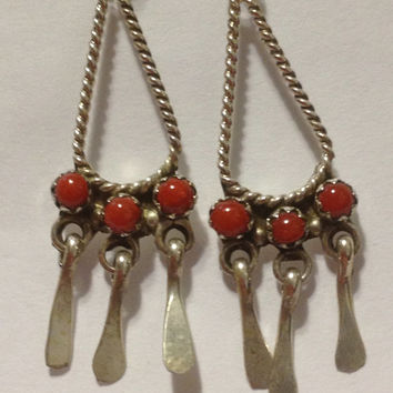 Red Coral Earrings Navajo Petit Point Sterling Silver 925 Vintage Tribal Southwestern Native American USA Jewelry Gift 60s Indian Dangly