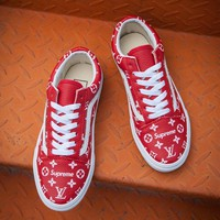 Vans x Supreme x Louis Vuitton Old Skool PU Red Sneaker