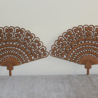 Pair of vintage Burwood brown fans wall decor, Asian decor, wall decor, drown decor