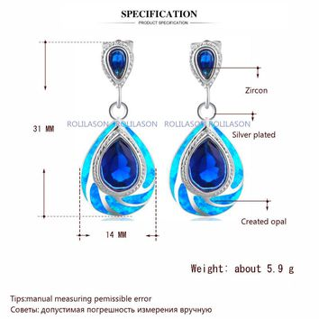 STYLEDOME Classic Blue Fire Opal 925 Silver Australia Blue Zirconia Dangle Earrings for Women