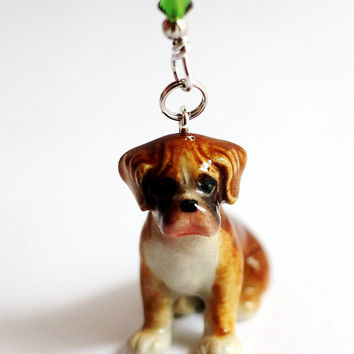 Boxer Puppy Dog Christmas Ornament Red and Green Swarovski Crystals Wire Wrapped by Hendywood