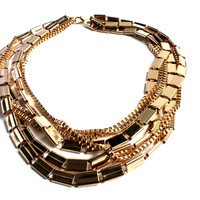 """Chiclet Gold"" Matte Gold Multilayer Necklace"