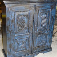Chakra Cabinet Vintage Armoire Hand Carved Blue Patina Cabinet Furniture From India