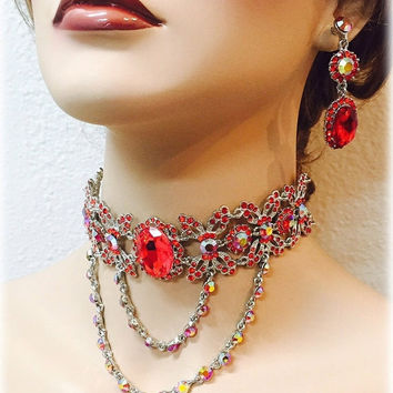 Wedding jewelry set, Red crystal choker necklace earrings, vintage inspired necklace statement, crystal jewelry set, Red jewelry set