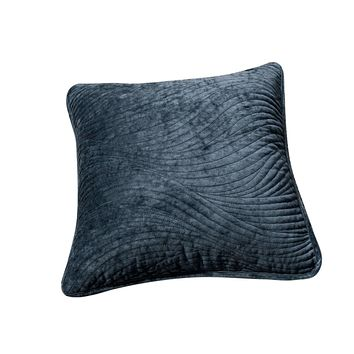 Tache Navy Blue Velvety Dreams Luxury Velveteen Plush Waves Cushion Cover 2 Pieces (JHW-852BL-CC)