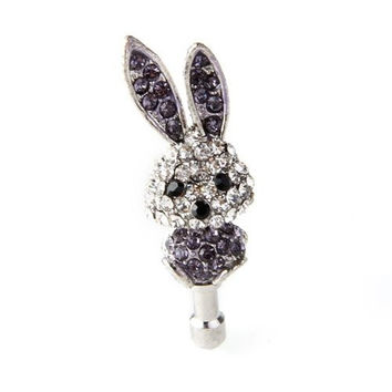 Rhinestones Rabbit Dust Plug Earphone 3.5mm Earphone Anti Dust Plug Phone Accessories cellphone