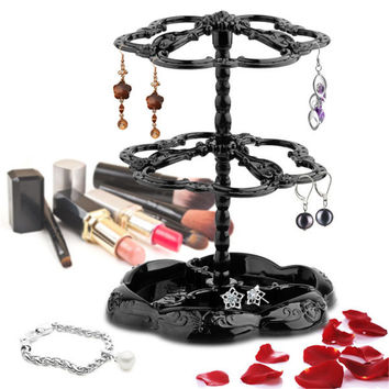 Three-tier Rotatable Fashion jewelry display stand earring holder rack Hanger Stand Organi zeraccessories rotating stand