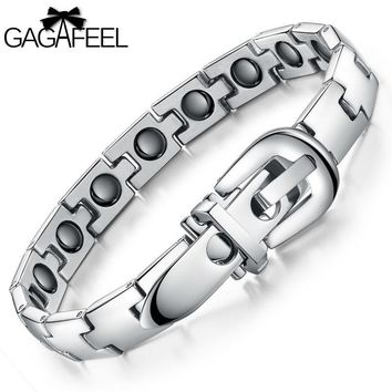 GAGAFEEL Men  Bracelet Bangle Personalized Health Magnetic Titanium Steel Wristband Luxury Jewelry Friendship Best Gift B977