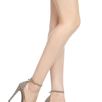 Grey Faux Suede Pointed Toe Ankle Strap Vinyl Heels