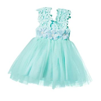 Infant Baby Clothes Sleeveless Dress with Flowers Summer Girls Baby Clothing Tulle Party Princess Dresses Children Daily Clothes