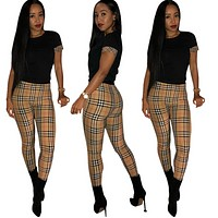 Burberry New fashion plaid straps top and pants two piece suit women