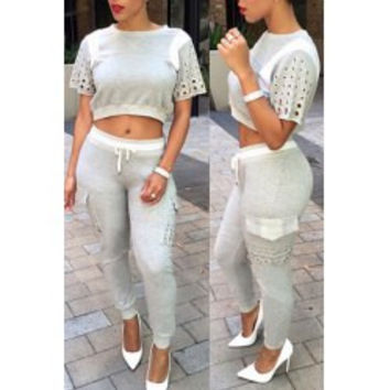 Casual Jewel Neck Short Sleeve Color Block Hollow Out Crop Top + Drawstring Pants Women's Twinset