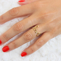 Cursive Love  Ring - Love Ring - Cocktail Ring - Love Statement  Ring - LOVE Gold Ring -  Adjustable Rings