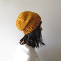 Mustard Yellow Slouchy Hat, Hand Knit Chunky Slouch Hat, Women Knit Hat, Wool Blend Hat, Seamless Winter Beanie, Gift for Her, Made to Order