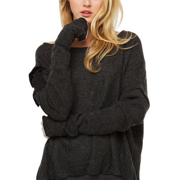 Cut It Out Pocket Sweater - Grey