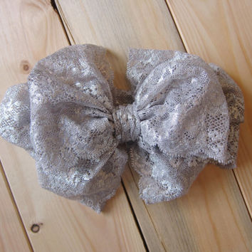 Lace Bow Headwrap - Metallic Silver Bow