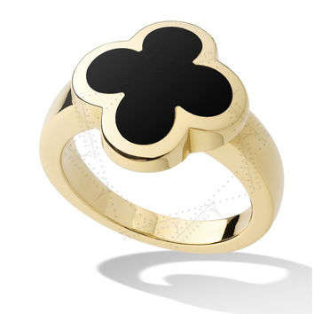 Shiny Jewelry Gift Stylish New Arrival Black Ladies Gold Leaf Ring [4956916484]