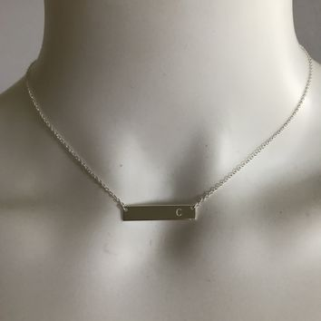 The Sterling Forever Initial Bar Necklaces - Initial C