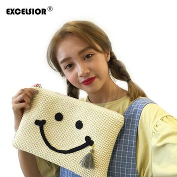 Fashion Korean Style Women Straw Weave Tassel Envelope Clutch Bag Cartoon Smile Face Hand Bag Ladies Small Knitting Purse G0820