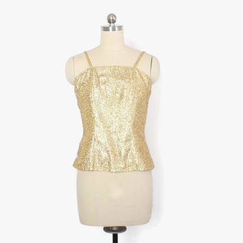 Vintage 60s Gold LUREX Top / 1960s Strappy Metallic Rockabilly Cocktail Blouse