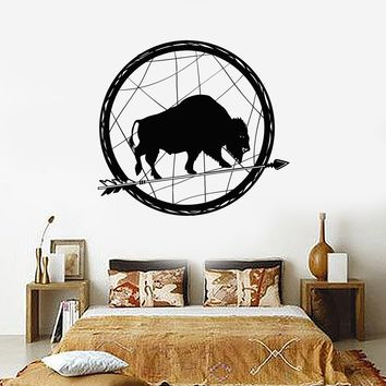 Vinyl Wall Decal Buffalo Arrow Mascot Ethnic Decor Stickers Unique Gift (ig4071)