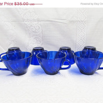 Duralex Veraco Cobalt Cups | Rivage Swirled Pattern | Cobalt Blue | Set of 7 | Made in France