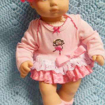 "AMERICAN GIRL Bitty Baby Clothes ""Cheery Chimp Can Dance"" (15 inch) doll outfit dress, diaper cover, socks, and headband ballet monkey"
