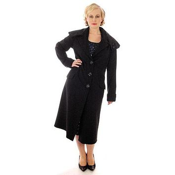 Vintage Womens Coat 1920s Black Wool w/ Pony Fur Collar Plus Size