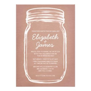 Coral Vintage Mason Jar Wedding Invitations