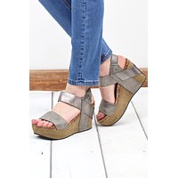 Hester Metallic Wedge Sandal {Pewter}