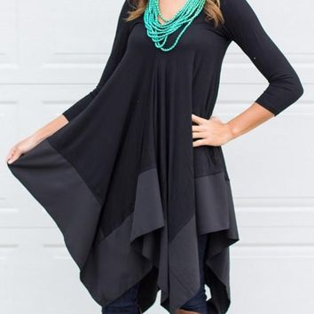 New Black Irregular Pleated Long Sleeve Round Neck Countryside Cowboy Casual Maxi Dress