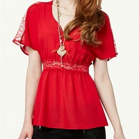 Lace Chiffon Dolman Top | Shirts | rue21
