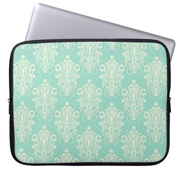 Elegant Girly Green Floral Damask Pattern Laptop Computer Sleeves