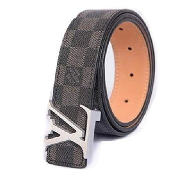 "Fashion Black leather belt with Silver belt buckle34-36""(110CM)"