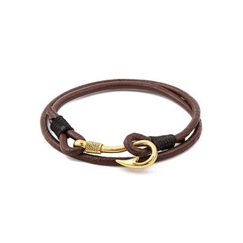 Fishing hook bracelet - multilayer leather rope nautical bangle - survival caribbean clasp in gold tone for men