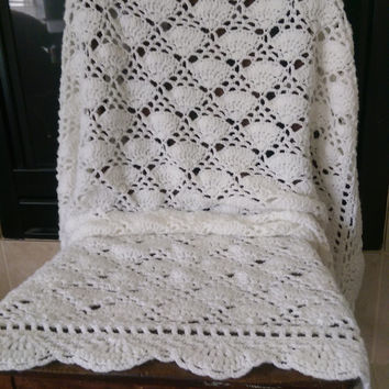 "Crochet Baby Blanket in White 45"" X 35"""