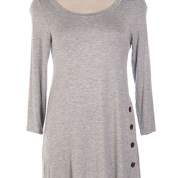 Gray Button Trim Tunic