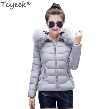 Tcyeek 2017 Autumn And Winter Women Jacket Short Warm Big Fur Hooded Outwear Coat Gray Slim Parka Down Cotton Clothing YYJ103