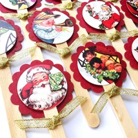 Vintage Inspired Christmas Cupcake Toppers - Set of 12
