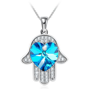 Hamsa Pendant Hand Necklace Made with Blue Swarovski Crystal Angelady Jewelry Gifts for Women Girls